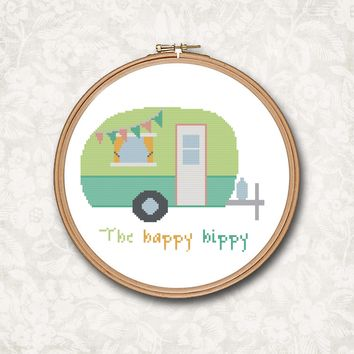 The Happy Hippy Camping Retro Vintage Camper RV Windstream Beach Art Cross Stitch Pattern