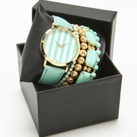 MINT STRIPE WATCH SET