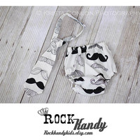 Rascal Bottoms Baby Boy Diaper Cover Bloomer Tie Set Little Man Mustache