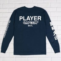BAIT x Street Fighter Men Capcom Player Long Sleeve Tee (navy / white)