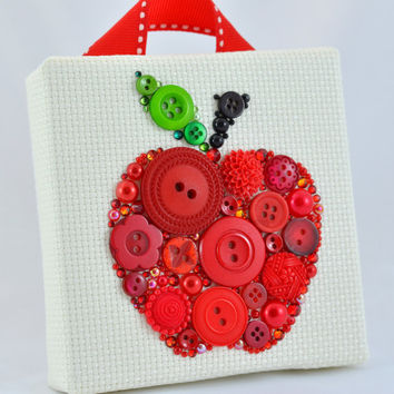 Red Apple - Button Art Vintage Buttons Swarovski Crystal Rhinestones Pearl Cabochons