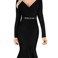 2016 Autumn V Neck Long Sleeve Mermaid Hem Midi Bodycon Dress Plus Size