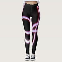 Black and pink abstract stripe pattern leggings