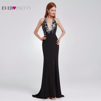 Christmas Evening Dress Open Back Long Sequin Gown Ever Pretty Deep V-Neck Fit And Flare Backless Party Dresses EP07164BK