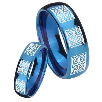 His Hers Mirror Blue Dome Multipe Square Celtic Tungsten Carbide Wedding Rings Set