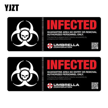 YJZT 18x6.6CM 2X UMBRELLA Resident Evil Infected Biohazard Personality Retro-reflective Car Sticker Decals C1-8004