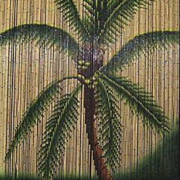 Bamboo Door Curtain With Palm Tree Scene