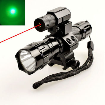 Tactical Red Dot Laser Sight Aluminum Laser Sight Scope Set with tactical flashlight for air Rifle Shotgun