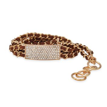 "7"" - 7.5"" Tan Leather Fashion Bracelet with Gold Tone Chain"