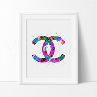Coco Chanel Monogram 3 Watercolor Art Print
