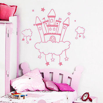 Wall Decal Castle Princess Sticker Girl Kids Room Art Decor Mural Vinyl DA3920