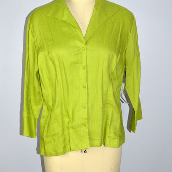 Kim Rogers XL Green Linen Top New $36