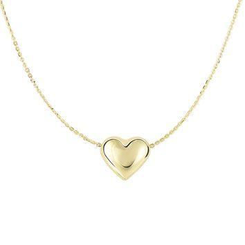14K Yellow Gold Shiny 9x10.2mm Sliding Puffed Heart On 0.87mm Diamond Cut Cable Chain Necklace with Spring Ring Clasp