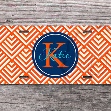 Custom License Plate - Orange Geometric Stripes with Navy blue monogram circle, custom name or monogram, customized car plate, front  - 250