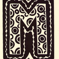 M is for the letter M. Linocut