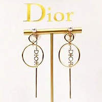 DIOR Fashion New Letter Pearl Long Earring Women Accessories