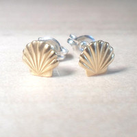 Sea Shell Stud Earrings on 925 sterling silver posts