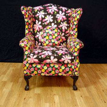 Flower Power Wing Back Chair by metrosofa on Etsy