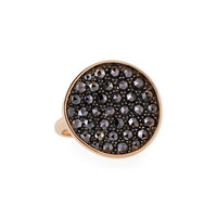 Ethos Maria Black Diamond Disc Ring in 18K Rose Gold