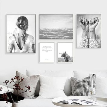 Nordic Poster Highland Cow Abstract Girl Wall Art Canvas Painting Posters And Prints Wall Pictures For Living Room Unframed