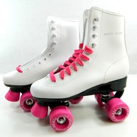 Speedy Roller Skate Kids Youth Adult Men Women Size 1-13 (White Pink, 7 (Adult Men))