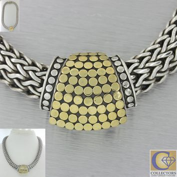 John Hardy Dot Collection 18k Yellow Gold Silver 11mm Wide Weave Necklace J8