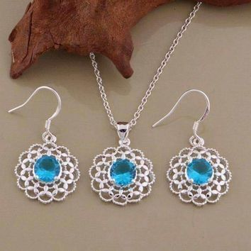 Aqua CZ Sterling Silver Filigree Medallion Matching Necklace and Earrings Set
