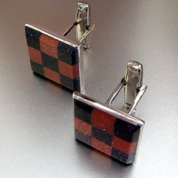 Checkerboard Cuff Links, Taxco, Goldstone & Black Goldstone, Sterling Silver, Vintage Cufflinks, Father's Day, Handsome! CIJ