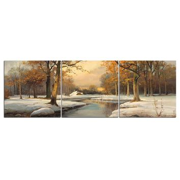 Winter Creek Snow Scene 3 Pcs Panel Canvas Panel Print Wall Decor Art
