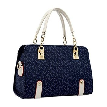 Women's Ladies Fashion Simple Bone Pattern Shoulder Bag Handbag Tote