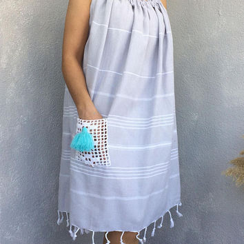 Women Sundress, Boho Cotton Dress, Beach Sundress, Casual Summer Dress, Maternity Dress, Pregnancy Dress, Oversize Clothing, Fringed Dress
