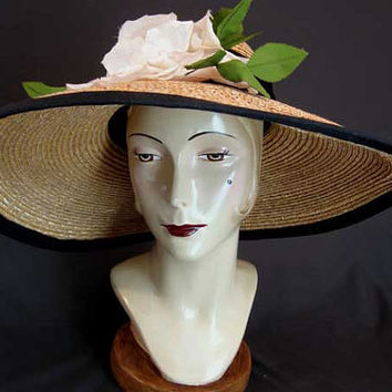 Vintage Natural Straw Wide Brim Hat White Rose Trim Picture Hat