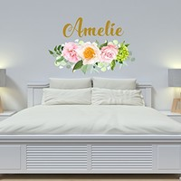 "Girl Name Floral Wall Decal Nursery Vinyl Sticker Personalized Name Girls Decals Flowers Rustic New Baby Trendy Decor Art NS2044 (17"" Tall x 27"" Wide)"