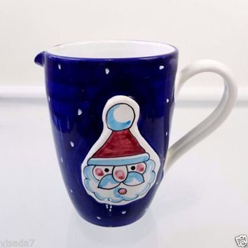 Christmas Santa Claus Pitcher Vintage Blue Hand Painted Ceramic Made in Italy