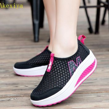 Akexiya New Women's Walking Shoes Casual Sport Fashion Height Increasing Woman Loafers Breathable Air Mesh Swing Wedges Sneakers
