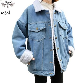 Trendy S-5XL 2018 Winter Women Coat Lamb Fur Denim Jacket Thick Warm Loose Oversize Bomber jacket Cotton Outerwear casaco feminino L205 AT_94_13