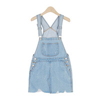 Denim Suspender Skirt