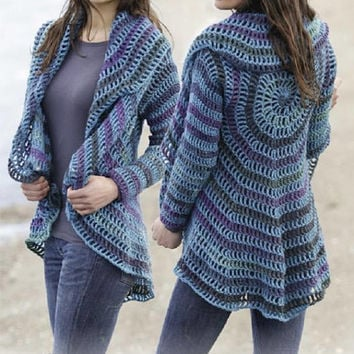 Blue jacket CHOOSE YOUR COLOR multicoloured jacket gypsy crochet jacket hand knit gradient black rainbow jacket cardigan boho Drops Lilith