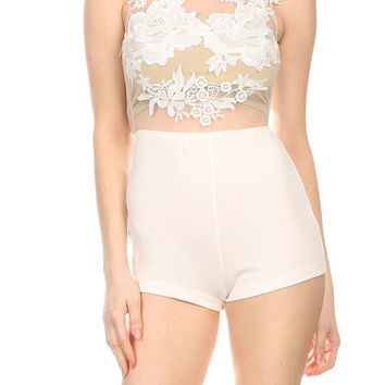 Multi-Fabric Sheer Mesh Bodice With Floral Appliques And Solid Bottom Body Con Romper BR5259