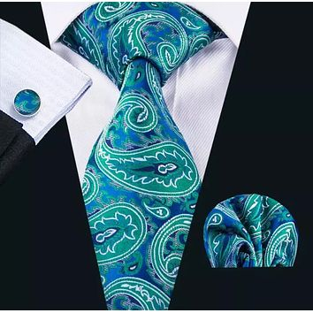 Men's Silk Coordinated Tie Set - Teal Paisley