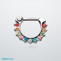 Sparkle Loop Multi-Gem Septum Clicker