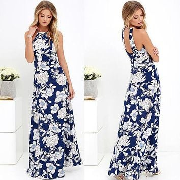 Bear Shoulder Halter High Waist Flower Print Long Dress