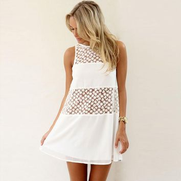 Women Summer Sleeveless Lace Boho Beach Short Mini Dress
