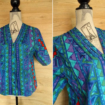 Vintage 80's Hipster Shirt • Fresh Prince of Bel Air • African Clothing • Abstract Shirt • African Print • Batik Shirt • 80s Geometric Shirt