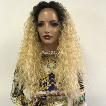 Blond ombre wavy lace front wig  - Darnell Nicole 0418 30