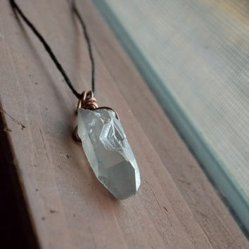 Healing Quartz Crystal Wire Wrapped Necklace // Hippie Boho Jewelry