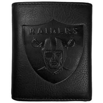 Oakland Raiders Embossed Leather Tri-fold Wallet FLET125
