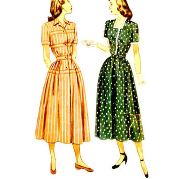 40s One Piece Flared Skirt Dress Pattern Simplicity 2398 Band Trim Square or with Collar Neckline Vintage Sewing Patterns Size 18 Bust 36