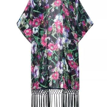 Streetstyle  Casual Fringe See-Through Floral Longline Kimono