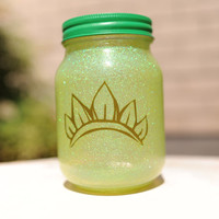 Tinted Glitter Mason Jar - Disney Princess Tiana Inspired